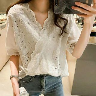 Elbow-sleeve Eyelet Lace Top
