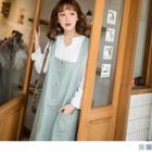 Slit-back Buttoned Pinafore Dress
