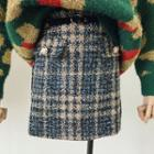 Plaid A-line Tweed Skirt