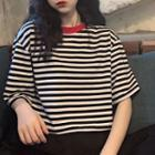 Cropped Pinstriped T-shirt