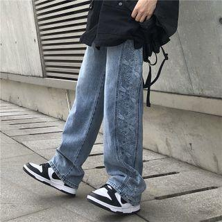 Pattern Panel Straight Cut Jeans