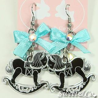 Blue Ribbon Silver Rocking Horse Earrings