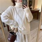 Turtle-neck Argyle Long-sleeve Cable-knit Sweater