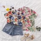 Short-sleeve Flower Print Chiffon Shirt
