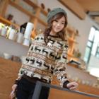 Crew-neck Pattern Sweater