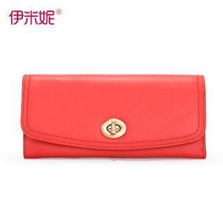 Genuine-leather Flap Long Wallet Red - One Size
