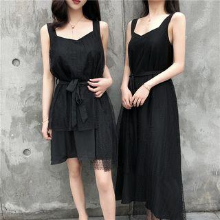 Wide-strap A-line Lace Dress