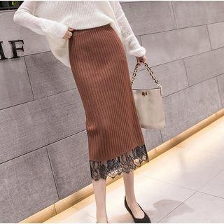 Lace Panel Hem Knit Midi Skirt