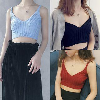 Sleeveless Knit Cropped Top