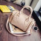 Studded Faux Leather Boston Bag