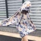 Print Long-sleeve Hooded Chiffon Top