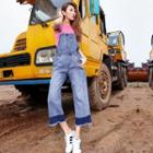 Washed Distressed Wide-leg Jumper Jeans