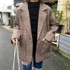 Plaid Single-button Blazer Plaid - Brown - One Size