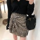 Wrap-front Leopard Skirt