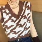 Long-sleeve Knit Top / Patterned Knit Vest