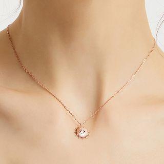 925 Sterling Silver Evil Eye Pendant Necklace Rose Gold - One Size