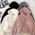 Plain Fleece Long-sleeve Hooded Jacket