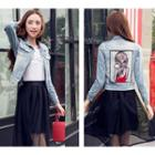 Cartoon Applique Denim Jacket