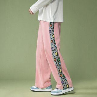 Leopard Print Trim Wide Leg Sweatpants