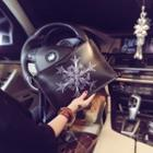Snowflake Print Faux Leather Clutch