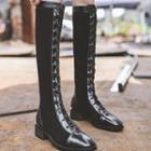 Block Heel Lace-up Panel Tall Boots