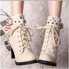 Studded Buckled Lace-up Boots