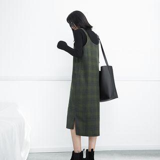 England-plaid Sleeveless Wool Dress