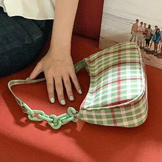 Chained Plaid Shoulder Bag