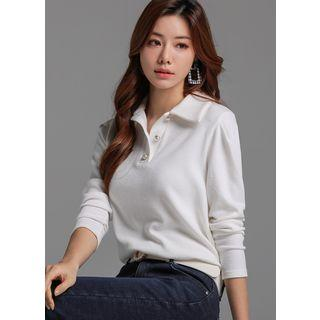 Faux-pearl Buttoned Polo Shirt