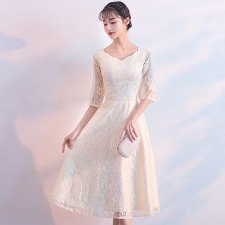 Elbow-sleeve Lace Midi Prom Dress