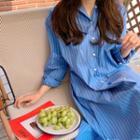 Pinstripe Boxy Long Shirtdress