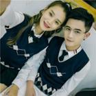V-neck Patterned Couple Matching Knit Vest