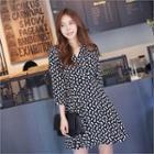 3/4-sleeve Pattern Surplice-wrap Dress