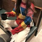 Rainbow Striped Knit Top As Shown In Figure - One Size