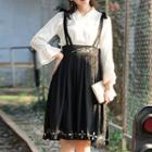 Set: Plain Long Sleeve Top + Flower Embroidered Midi Suspender Skirt