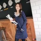 Anchor Print Fleece Lined Lace-panel Dress