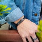 Cross & Lettering Stainless Steel Bracelet 1050 - Bracelet - Gray - One Size