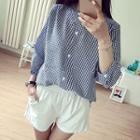 Gingham 3/4 Stand Collar Blouse