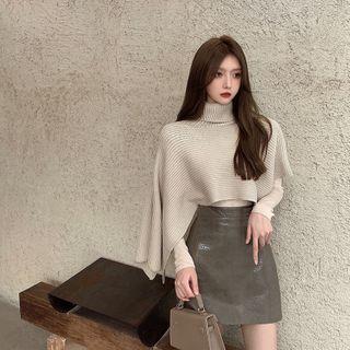 Turtleneck Knit Cape / Long-sleeve Top / Faux Leather A-line Skirt