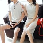 Couple Matching Striped Short Sleeve Polo Shirt / Sleeveless Collared Dress