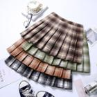 Plaid High-waist Mini Accordion Pleat Skirt
