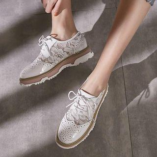 Genuine Leather Lace Panel Oxfords