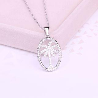 925 Sterling Silver Rhinestone Tree Pendant Necklace Pendant - White - One Size