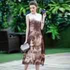 Sleeveless Embroidery Printed Silk Dress
