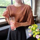 Ruffle-sleeve Patterned Top