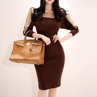 Color Block Long-sleeve Knit Sheath Dress Dark Khaki - One Size