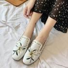 Flower Embroidered Studded Loafers