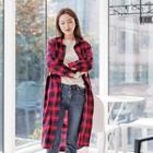 Drawstring-waist Plaid Long Shirt