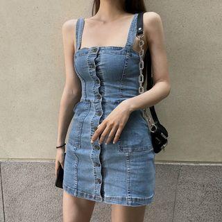 Button-down Denim Sleeveless Dress