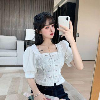 Puff-sleeve Square Neck Zipped Blouse